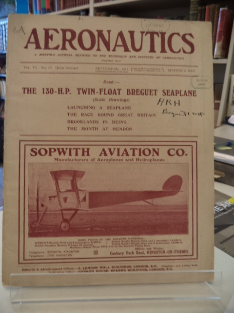 Image for Aeronautics.  A monthly journal devoted to the technique of aeronautics.  Vol. VI, No. 67 September 1913