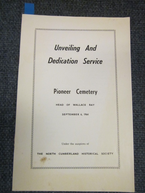 Image for Unveiling and Dedication Service.  Pioneer Cemetery, Head of Wallace Bay, September 6, 1964