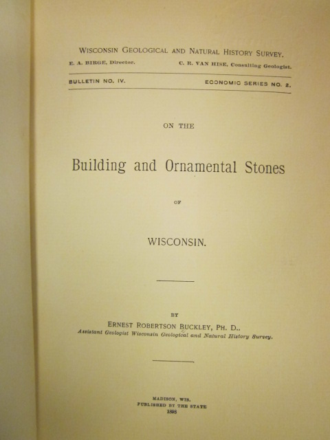 Image for On the Building and Ornamental Stones of Wisconsin