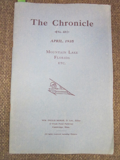 Image for The Chronicle,  Mountain Lake Florida &c. April, 1935,  Number 221
