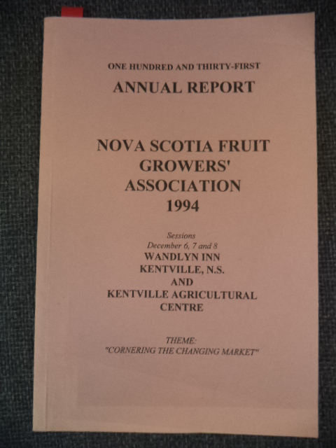 Image for One Hundred and Thirty-First Annual Report of the Fruit Growers' Association of Nova Scotia: 1994