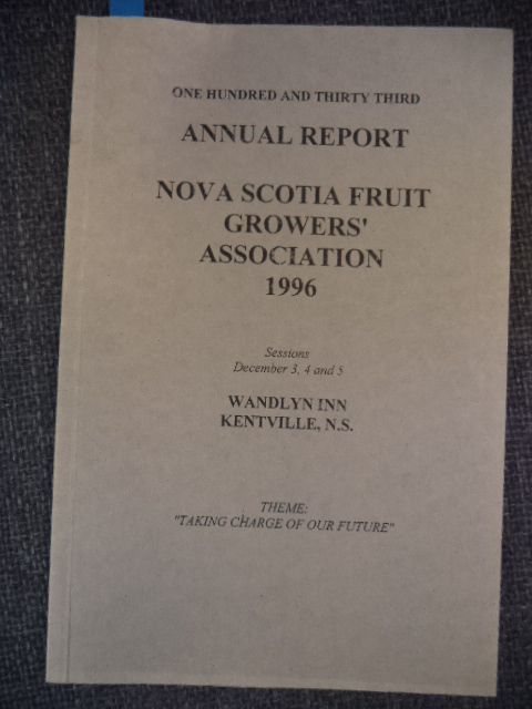 Image for One Hundred and Thirty Third Annual Report of the Fruit Growers' Association of Nova Scotia: 1996