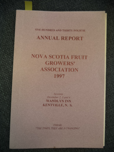 Image for One Hundred and Thirty Fourth Annual Report of the Fruit Growers' Association of Nova Scotia: 1997