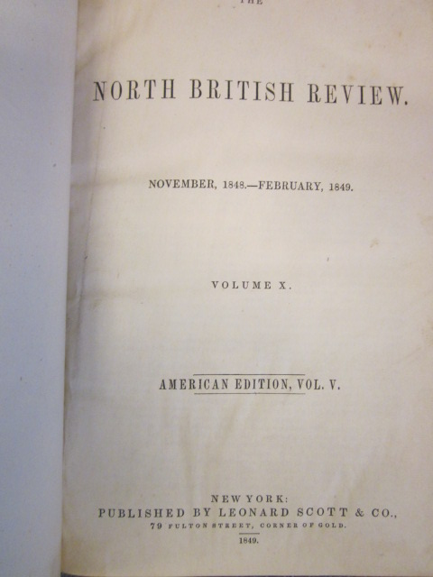 Image for The North British Review. Volume X and XI. [American Edition: Vol. V and VI]. November 1848, February, May & August 1849. Numbers XIX-XXII.