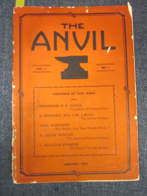 Image for The Anvil: Volume 1, Number 1. January 1931.