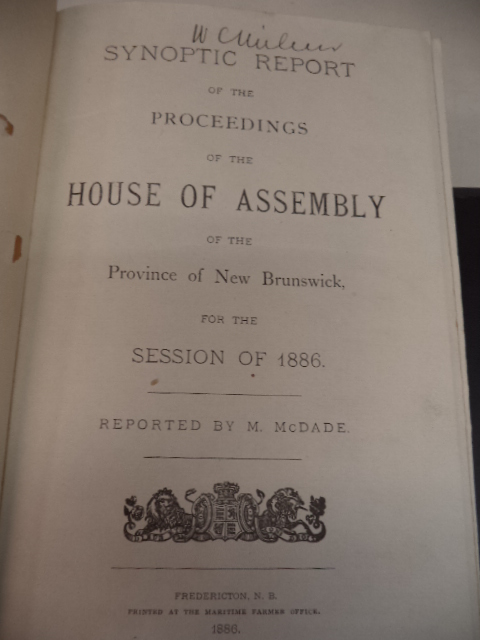 Image for Synoptic Report of the Proceedings of the House of Assembly of the Province of New Brunswick, for the Session of 1886