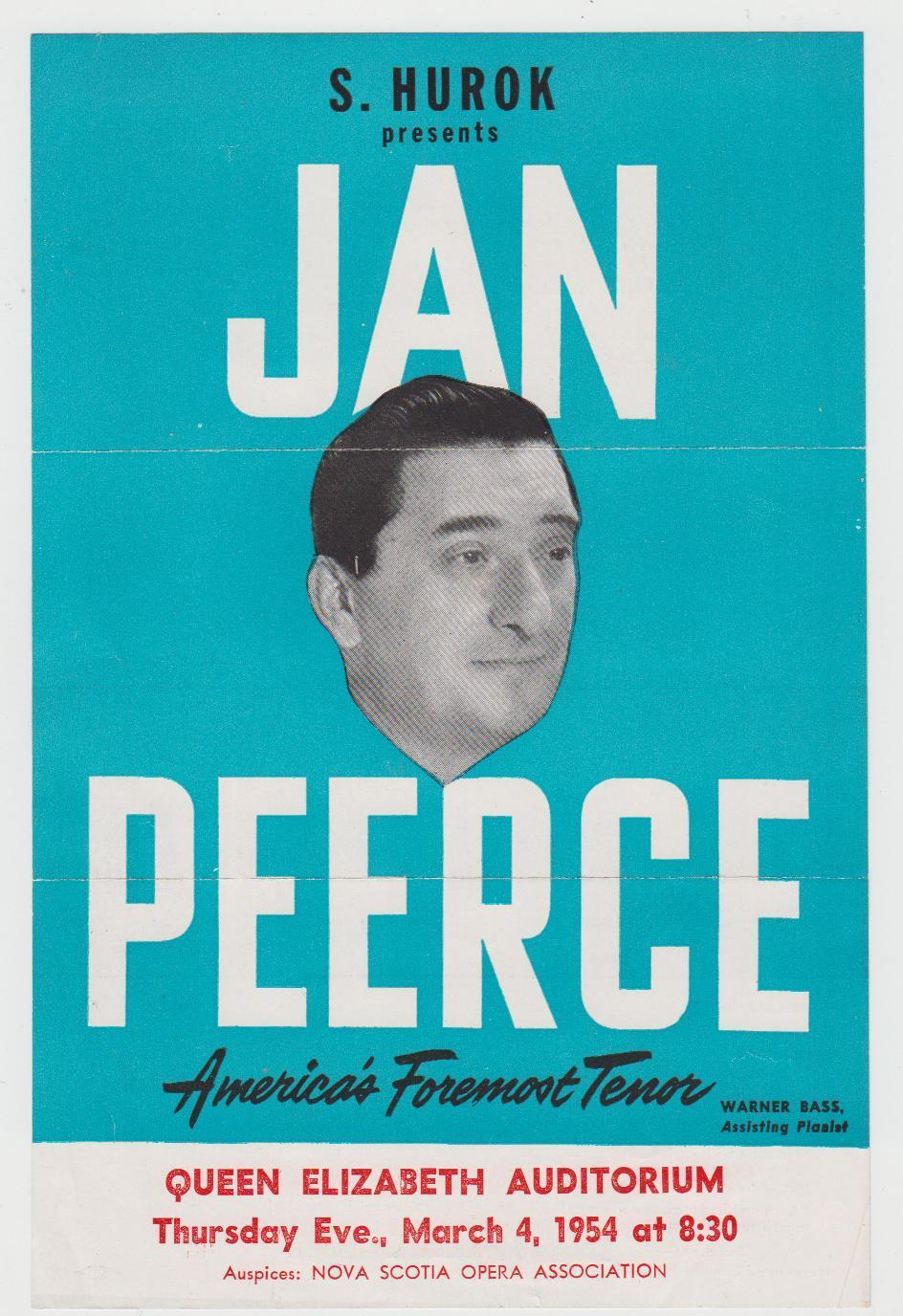 Image for Original 1954 JAN PEERCE Handbill & Program Nova Scotia Opera