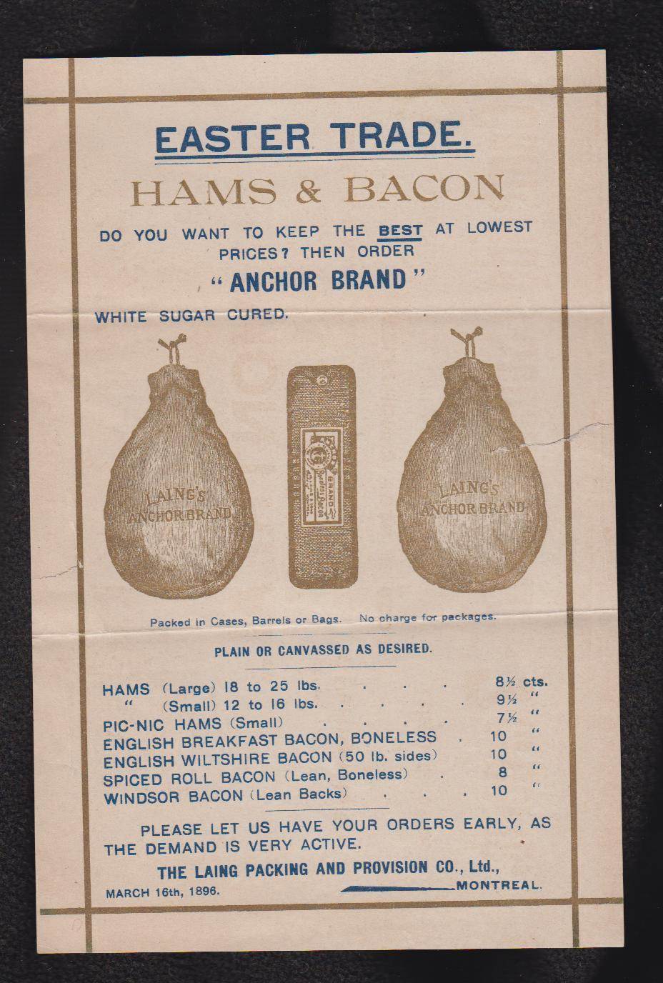 Image for 1896 Easter Ham & Bacon LAING PACKING Montreal Meat Processing Advertisment