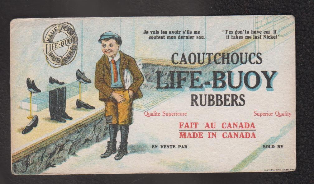 Image for Colour Litho Advertising Blotter Life-Buoy Rubbers Caoutchoucs Kaufman
