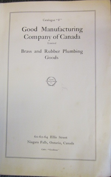 "Image for Catalogue ""F"" : Good Manufacturing Company of Canada Limited. Brass and Rubber Plumbing Goods"
