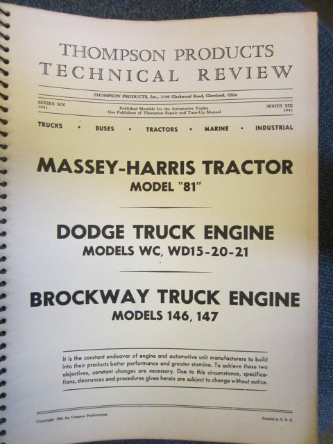 Image for Thompson Products Tractor Truck Gasoline Diesel Engine Catalog Manual