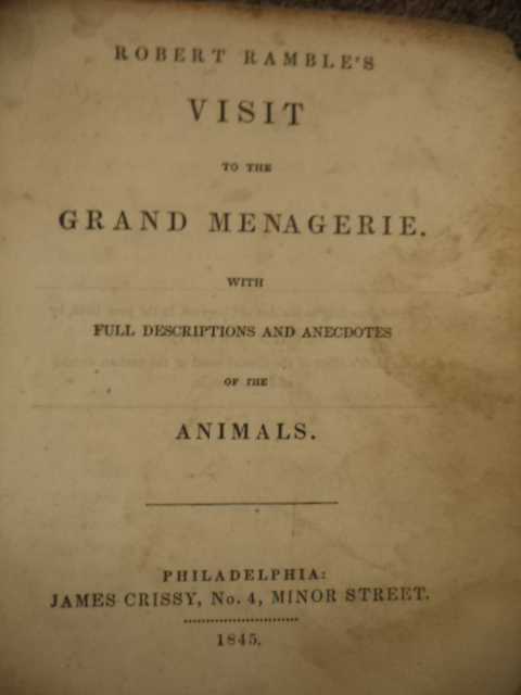 Image for Robert Ramble's Visit to the Grand Menagerie, with Full Descriptions and Anecdotes of the Animals