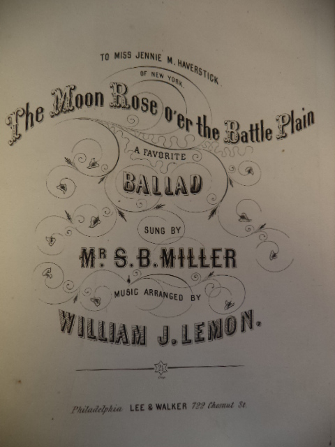 Image for A bound collection of sheet music dating from the 1850s and 1860s, including 1861 Civil War Confederate Ballad: The Moon Rose O'er the Battle Plain