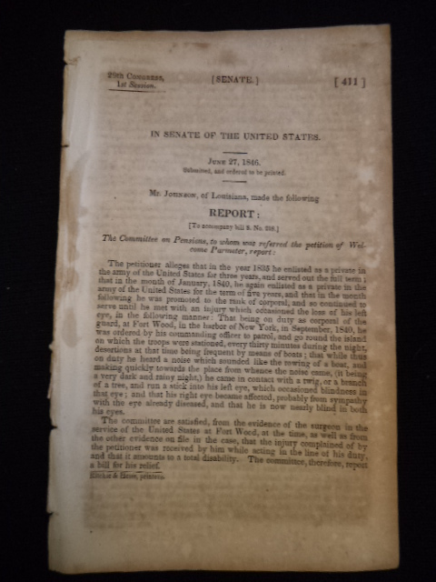 Image for 1846 Congressional Senate papers US Army Pensions Louisiana Michigan Land Claims. Three Documents from 29th Congress, 1st Session.