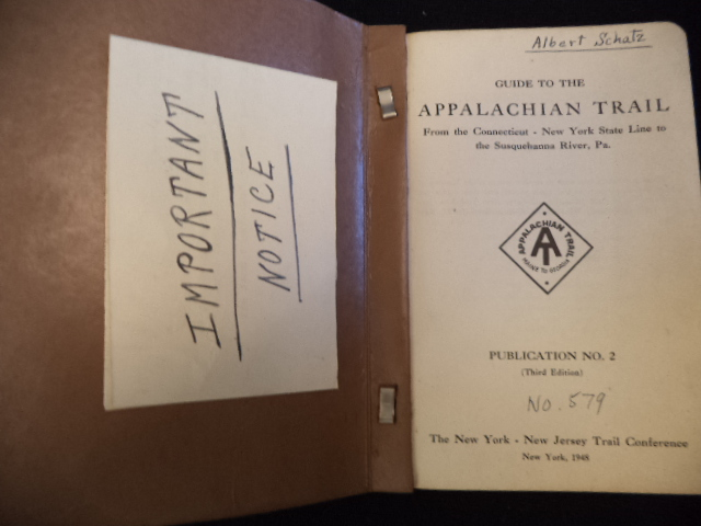 Image for Guide to the Appalachian Trail. From the Connecticut - New York State Line by way of the Hudson River at Bear Mountain, Deleware Water Gap and Lehigh Gap to the Susquehanna River near Harrisburg, Pennsylvania.. Third Edition. [Signature of Albert Schatz]
