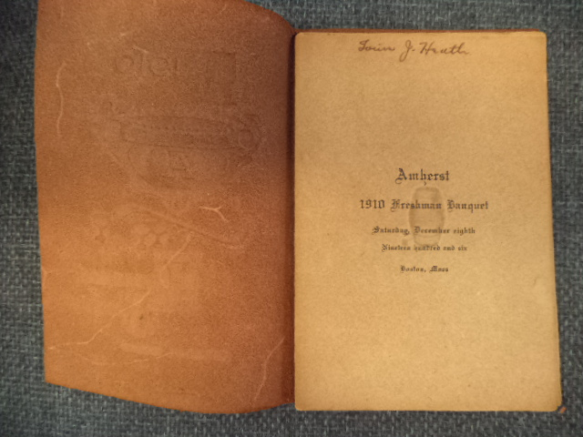 Image for Amherst College class of 1910 Freshman Banquet memento from the evening of 8 December 1906 at America House, Boston