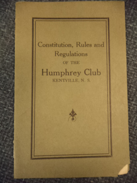 Image for Constitution, Rules and Regulations of the Humphrey Club Kentville, N.S.