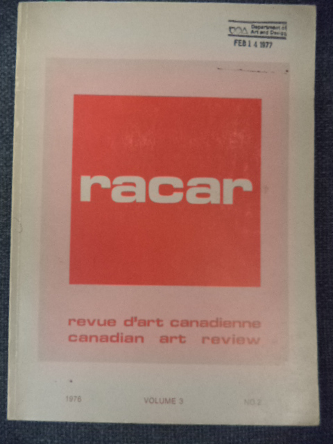 Image for RACAR. Revue d'art Canadienne / Canadian Art Revue  Volume 3, No. 2, 1976