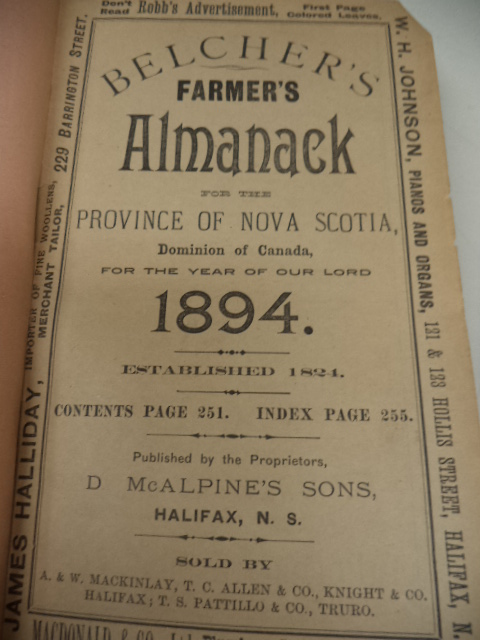 Image for Belcher's Farmer's Almanac. For The Province of Nova Scotia, Dominion of Canada, for the Year of Our Lord 1894 [annotated; almanack]