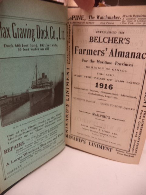 Image for Belcher's Farmer's Almanac. For The Maritime Provinces, Dominion of Canada, for the Year of Our Lord 1916 [annotated; almanack]