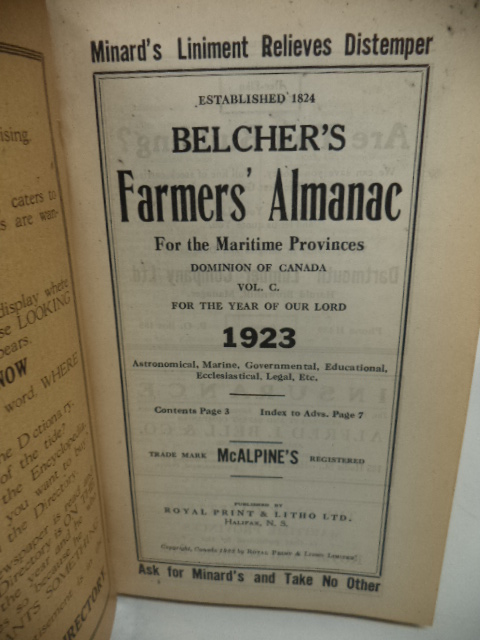Image for Belcher's Farmer's Almanac. For The Maritime Provinces, Dominion of Canada, for the Year of Our Lord 1923 [annotated; almanack]