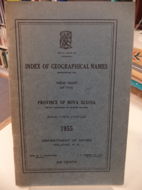 Image for Index of Geographical Names Appearing on New Map of the Province of Nova Scotia 1955 (with addenda of place names)