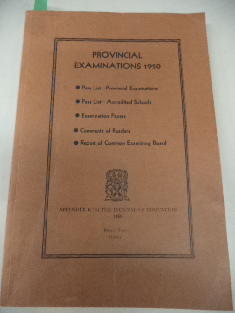 Image for Provincial Examinations 1950, Appendix B to The Journal of Education