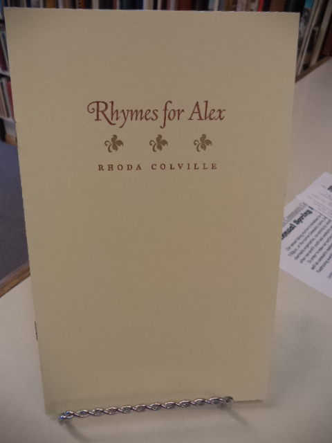 Image for Rhoda Colville - Rhymes for Alex;  as well,  the invitation to  the tribute dinner held by the Annapolis Valley Hospice Foundation