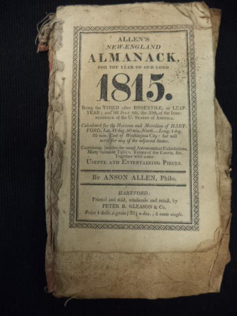 Image for Allen's New-England Almanack: For The year of Our Lord 1815  WITH Beers' Almanac For The Year of Our Lord 1817
