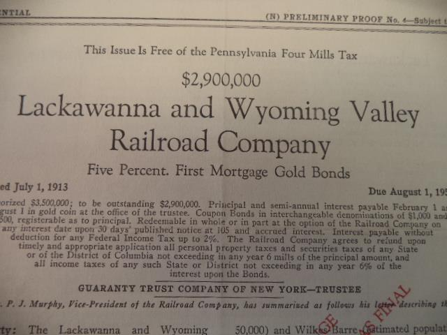 Image for Confidential (N) Preliminary Proof No. 4 - Subject To Change $2,900,000 Lackawanna and Wyoming Valley Railroad Company Five Percent, First Mortgage Gold Bonds