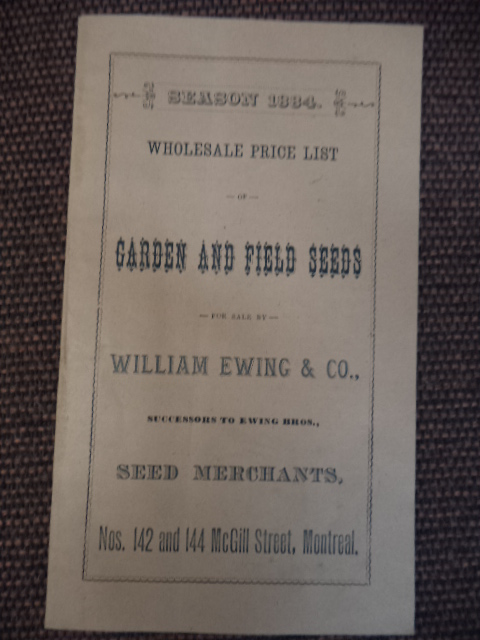 Image for Season 1884. Wholesale Price List of Garden and Field Seeds for sale by William Ewing & Co.,  successors to Ewing Bros., Seed Merchants