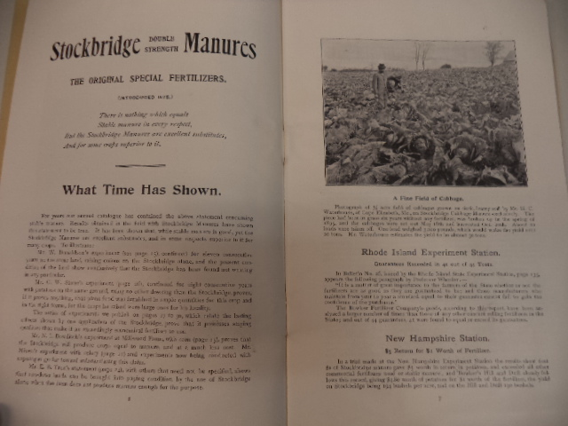 Image for 1896 Catalogue of Stockbridge Special Complete Manures Double Strength and Bowker's Soluble Active Fertilizers