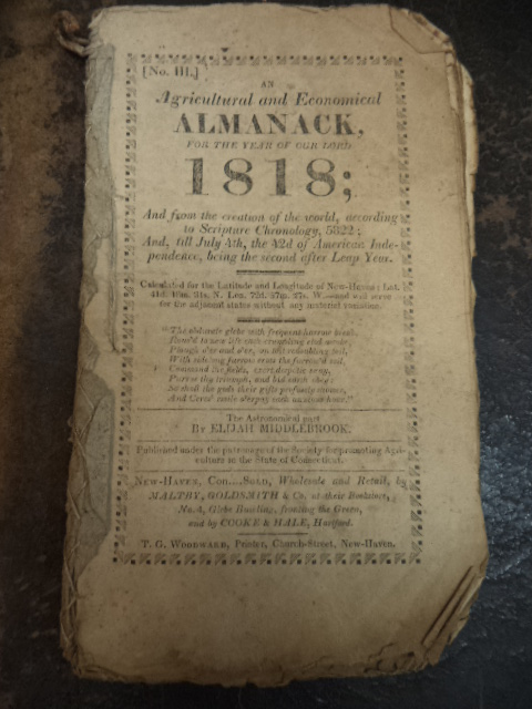 Image for [Solon Robinson] An Agricultural and Economical Almanack For The Year Of Our Lord 1818.