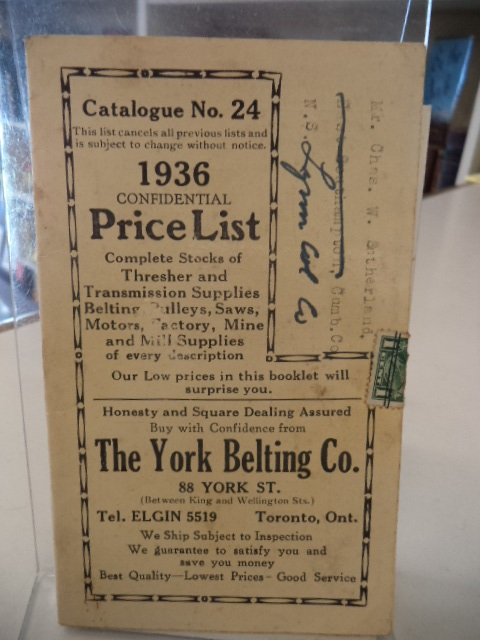 Image for The York Belting Company [Toronto] Catalogue No. 24, 1936 Confidential Price List