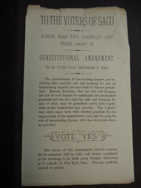 Image for To The Voters of Saco Maine - two Constitutional Amendment pamphlets. Prohibition against the manufacture and sale of intoxicating liquors. [26th amendment to the Maine Constitution]