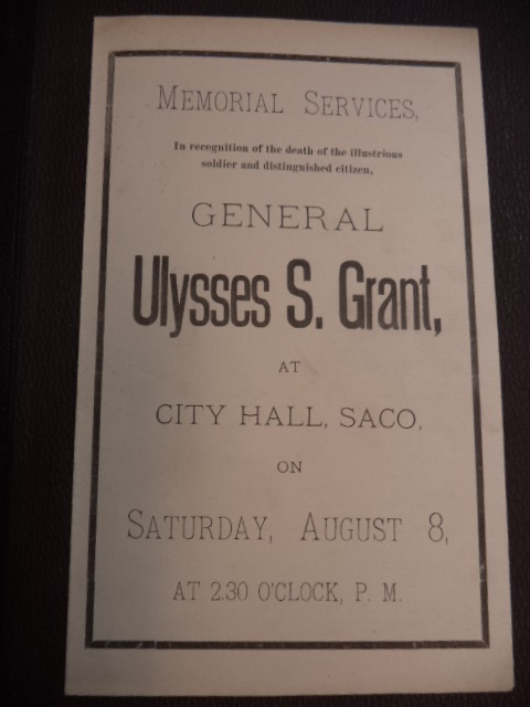 Image for General Ulysses S. Grant Memorial Services program, Saco Maine, 8 August 1885