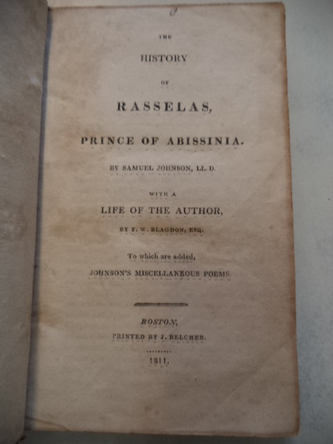 Image for The History of Rasselas, Prince of Abissinia. With a Life of the author by F. W. Blagdon, Esq. To which are added, Johnson's Miscellaneous Poems