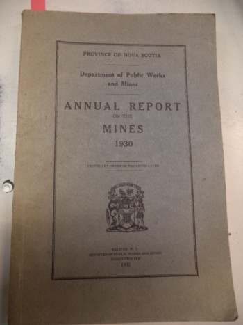 Image for Annual Report on the Mines : 1930 Province of Nova Scotia