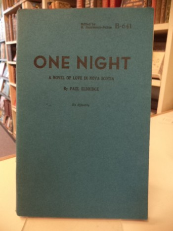 Image for One Night. A Novel of Love in Nova Scotia
