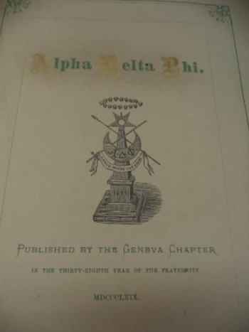Image for Alpha Delta Phi. [Songs of Alpha Delta Phi, Published in the thirty-eighth year of the Fraternity]