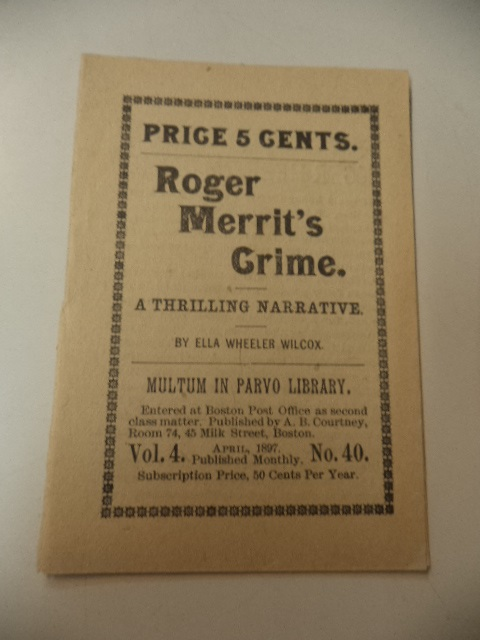 Image for Roger Merrit's Crime [Multum In Parvo Library Vol. 4, No. 40]