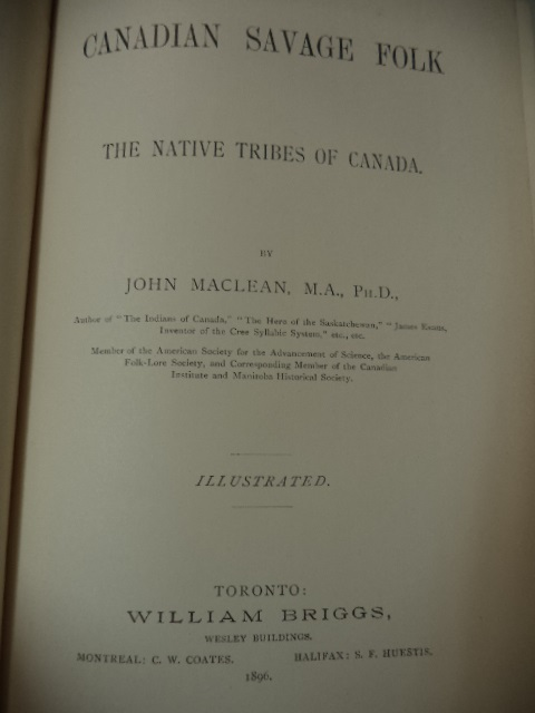 Image for Canadian Savage Folk [inscribed]