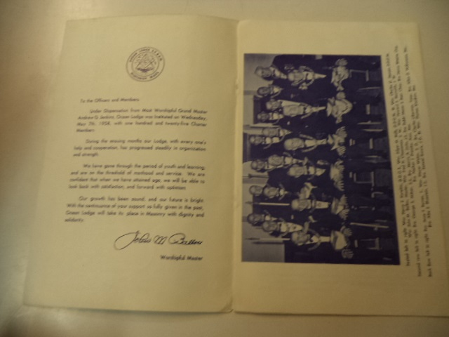 Image for Ocean Lodge A.F & A.M 1959 Constitution Meeting [Program and Menu]